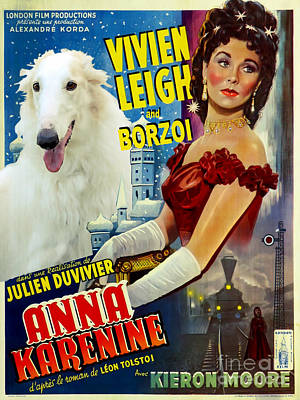 Borzoi Painting - Borzoi Art - Anna Karenine Movie Poster by Sandra Sij