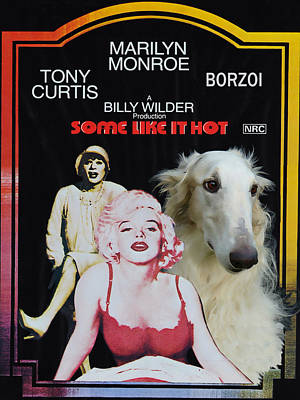 Nobility Dogs Painting - Borzoi Art - Some Like It Hot Movie Poster by Sandra Sij