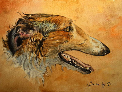 Watercolor Pet Portraits Painting - Borzoi Dog by Juan  Bosco