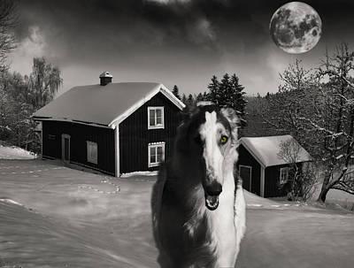 Borzoi Wolf Hound On A Midnight Hunt Art Print by Christian Lagereek