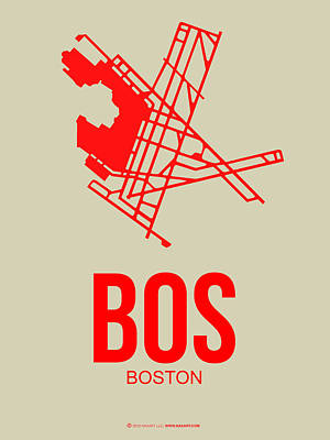 Boston Mixed Media - Bos Boston Airport Poster 1 by Naxart Studio