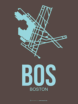 Town Mixed Media - Bos Boston Airport Poster 2 by Naxart Studio