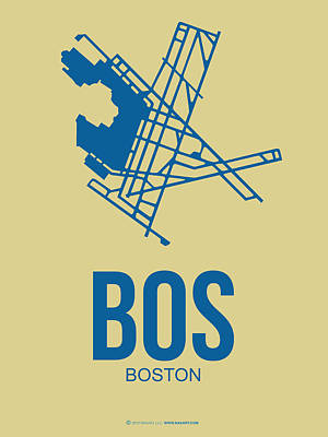 Boston Mixed Media - Bos Boston Airport Poster 3 by Naxart Studio