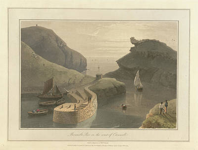 Boscastle Pier On The Coast Of Cornwall Art Print by British Library