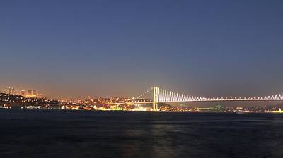 Bosphorus Bridge Night Original by Recep Suha Selcuk