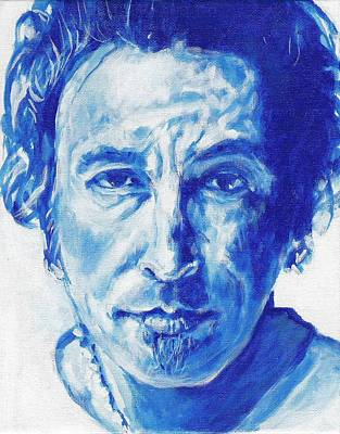 Bruce Springsteen Art Painting - Boss In Blue by Paul Smutylo
