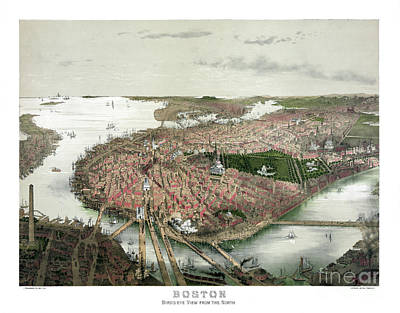 Vintage Map Painting - Boston - Bird's Eye View From The North - 1877 by Pablo Romero