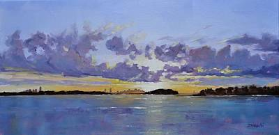 Big Skies Painting - Boston A Glow by Laura Lee Zanghetti