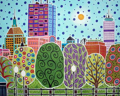 Folk Painting - Boston Abstract by Karla Gerard
