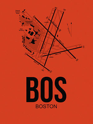 Digital Art - Boston Airport Poster 2 by Naxart Studio