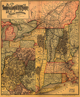 1880s Photograph - Boston And Lowell Railroad Map 1886 by Mountain Dreams
