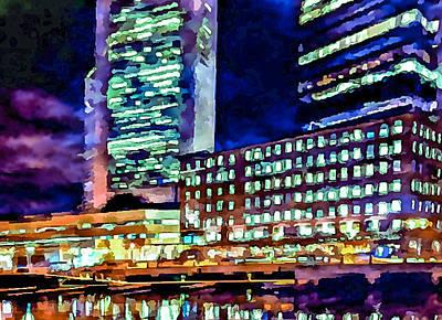Boston At Night 1 Art Print by Yury Malkov