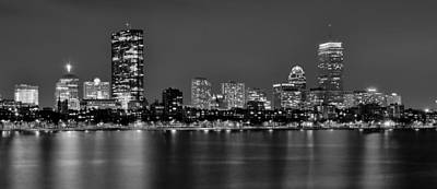 Harbor Scene Wall Art - Photograph - Boston Back Bay Skyline At Night Black And White Bw Panorama by Jon Holiday