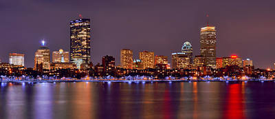 Photograph - Boston Back Bay Skyline At Night Color Panorama by Jon Holiday