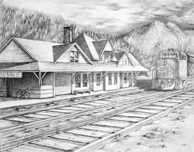 Trains Drawing - Boston Bar B.c. Station by PJ Timmermans