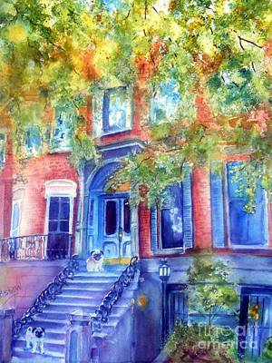 Brownstone Painting - Boston Brownstone by Patricia Pushaw