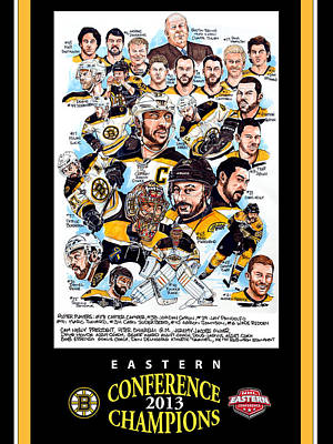 Nhl Hockey Drawing - Boston Bruins by Dave Olsen