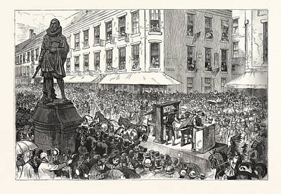 Historic Statue Drawing - Boston Celebration The Procession Passing Winthrop Statue by Graham, Charles (1852-1911), American
