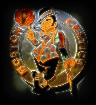 Athletes Royalty-Free and Rights-Managed Images - Boston Celtics Logo by Stephen Stookey