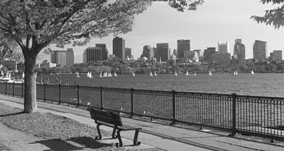 Charles River Photograph - Boston Charles River Black And White  by John Burk