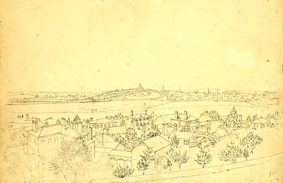 Bunker Hill Drawing - Boston, Charlestown & Bunker Hill As Seen From The Fort by Litz Collection