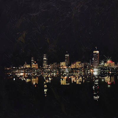 Chicago Oil Painting - Boston City Skyline 2 by Corporate Art Task Force