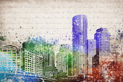 Usa United States Mixed Media - Boston City Skyline by Aged Pixel