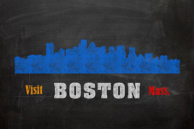 Chalk Mixed Media - Boston City Skyline Chalkboard Chalk Art by Design Turnpike