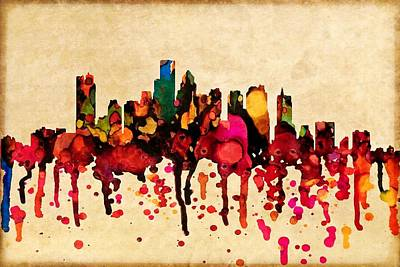 Digital Art - Boston City Skyline With Paint  Splash by Lilia D