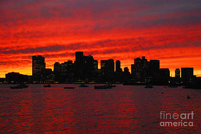 Boston City Sunset Art Print