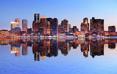 Boston City With Water Reflection At Art Print by Buzbuzzer