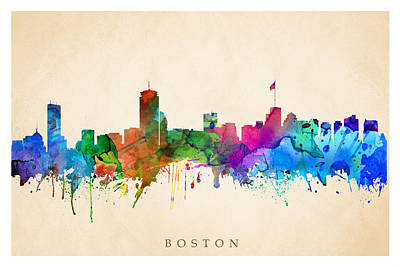 Digital Art - Boston Cityscape by Steve Will