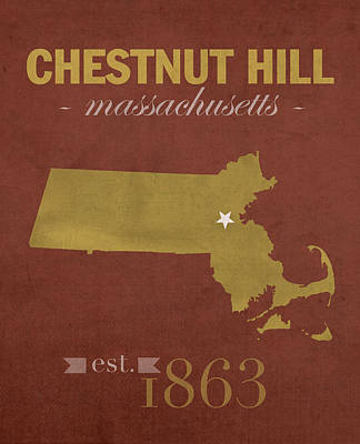 Eagle Mixed Media - Boston College Eagles Chestnut Hill Massachusetts College Town State Map Poster Series No 020 by Design Turnpike