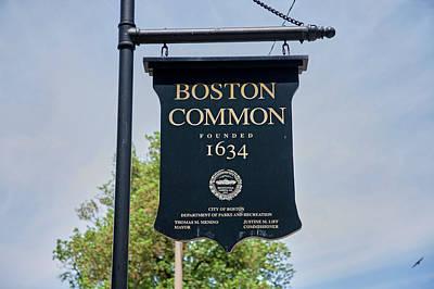 Boston Common Park Sign, Boston, Ma Art Print