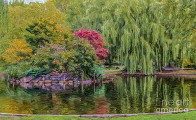 Digital Art - Boston Common Pond by Liz Leyden