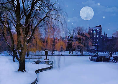 Invitations Painting - Boston Commons Frozen Pond On  Winter Evening by Elaine Plesser