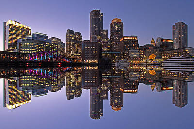 Photograph - Boston Downtown Harbor Reflection  by Juergen Roth