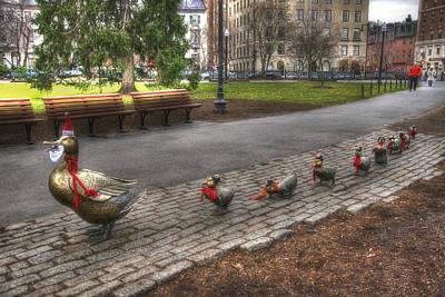 Boston Public Garden Photograph - Boston Ducklings Christmas Stroll by Joann Vitali