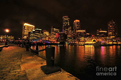 Boston Fan Pier City Skyline  Art Print by Catherine Reusch Daley