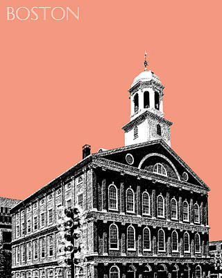 Boston Faneuil Hall - Salmon Art Print by DB Artist