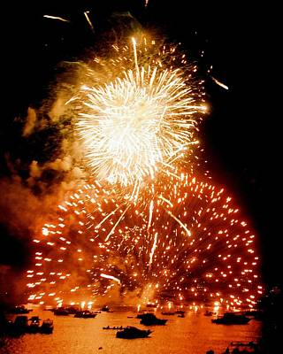 Boston Fireworks  A Burst On The Water Art Print by John B Poisson