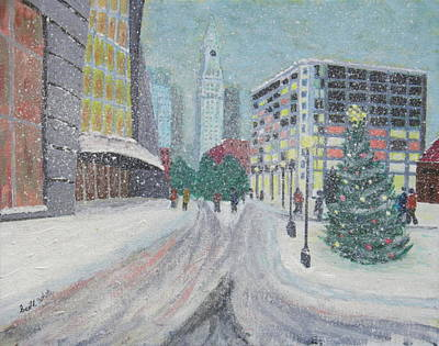Boston First Snow Art Print