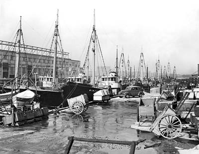 Water Vessels Photograph - Boston Fishermen On Strike by Underwood Archives
