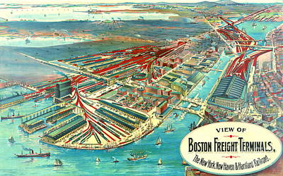 Art Lithographs Photograph - Boston Freight Terminals 1903 by Padre Art