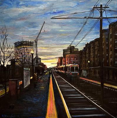 Boston Painting - Boston Green Line E Train Museum Stop by Karen Strangfeld