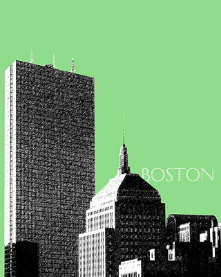Tower Digital Art - Boston Hancock Tower - Sage by DB Artist