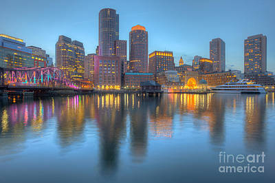 Photograph - Boston Harbor And Skyline At Twilight I by Clarence Holmes