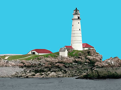 New England Lighthouse Painting - Boston Harbor Lighthouse by Elaine Plesser