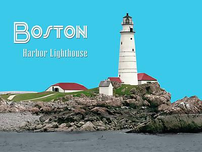 New England Lighthouse Painting - Boston Harbor Lighthouse Text Boston by Elaine Plesser