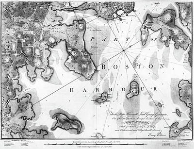 Boston Harbor Islands Painting - Boston Harbor Map, 1777 by Granger